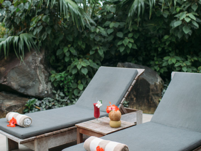 A beautiful set up of the sun loungers featuring options of quenching fruit drink