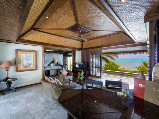 Te Manava luxury villas, view from the inside of the Ultimate beachfront villa looking out onto the blue lagoon