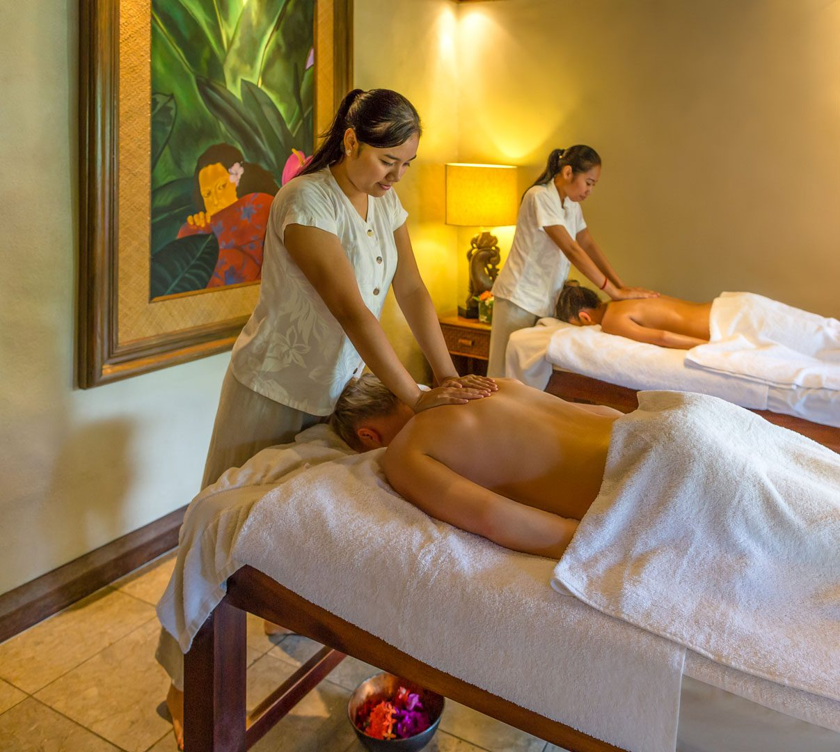 view of the te manava spa with a couple receiving a relaxing luxurious massage