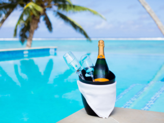 Chilled beverage overlooking our infinity pool